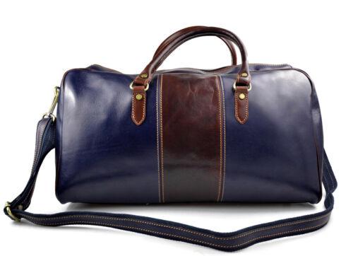 marrone Borsone uomo donna borsa viaggio con manici e tracolla vera pelle blu