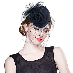 e09307db521 A251 Womens Feather Wool Felt Fascinator Cocktail Hat Wedding Royal ...