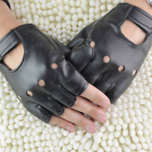 Punk-Fuax-Leather-Half-Finger-Gloves-Fingerless-Biker-Sports-Cycling-Black-TR
