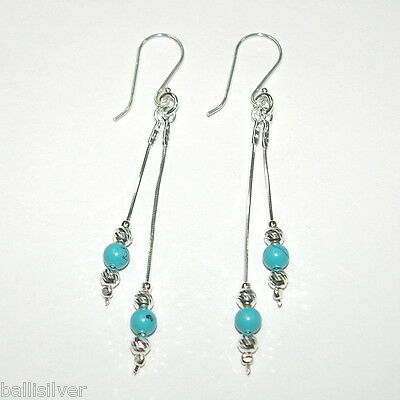 """TURQUOISE Pure 925 Solid Sterling Silver Jewelry EARRING Size 1.15/"""" RV1352"""
