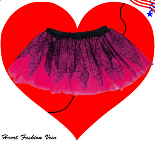Spider Web Neon UV Hot Pink tutu skirt Rave Dance party Costumes Dress Halloween