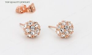 Image Is Loading Sparkly Rose Gold Plated Crystal Ball Stud Earrings