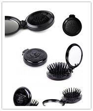 Round Folding Comb Mirror Healthy Massage Brush Makeup Travel Pocket Size