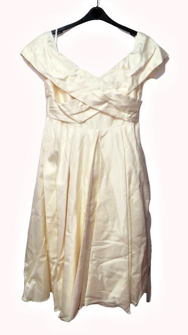 ASOS CURVE BRIDAL Bonded Sateen Cross Fold Debutante Dress UK 18 LN012 CC 01
