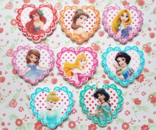 8 x Disney Little Princess Heart Flatback Planar Resin Embellishment Hair bow
