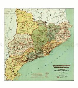 MAP-ANTIQUE-1936-CATALAN-CATALONIA-HISTORIC-LARGE-REPLICA-POSTER-PRINT-PAM0497