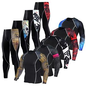 Mens-Compression-Armour-Base-Layer-Top-Thermal-Skins-Shirt-Leggings-Fitness-Suit