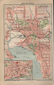 Landkarte City Map 1894 Stadtplan Melbourne Australien Massstab