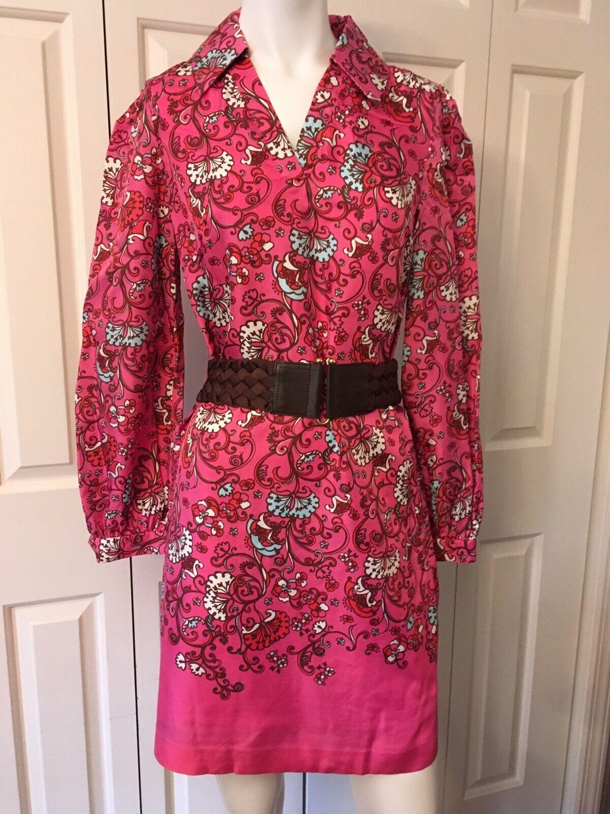 Lilly Pulitzer Pink Floral 100% Silk Shirt Dress Size 2 VGUC