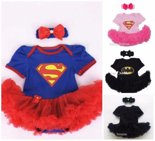 2pcs Newborn Baby Girls  bodysuit /& Headwear tutu Party dress outfits Supergirl