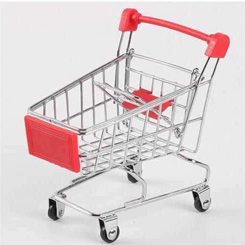 Mini Supermarket Handcart Shopping Cart Storage Trolley Kids Pretend Play Toy K4