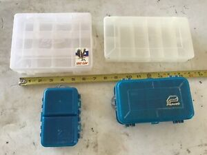 Plano small tackle boxes 4 total. 2-2sided Plano, 1-1sided Plano 1- Eagle claw.