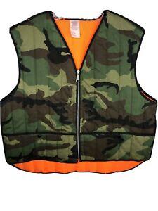 Vintage-XL-Blaze-Camo-Vest-Quilted-Woodland-Hunter-WPL-13224-Made-In-USA