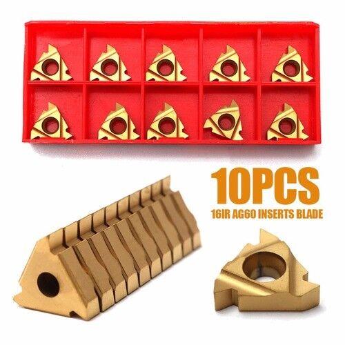10Pcs//Box 16IR AG60 Inserts Blade Lathe CNC Carbide Thread Cutting Turning Tool