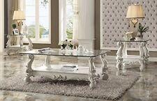 Acme Furniture 82103 Versailles Coffee Table, Bone White & Clear Glass NEW