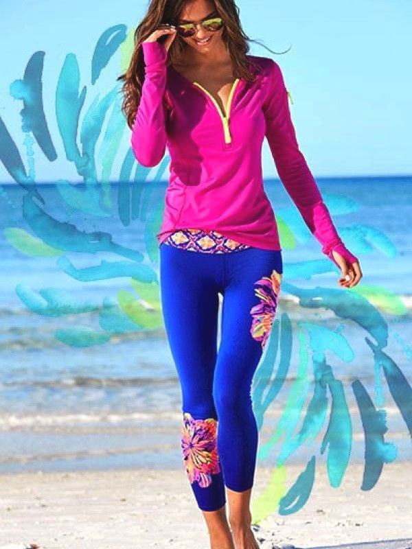 NWT Lilly Pulitzer UPF 50+ LUXLETIC WEEKENDER LEGGINGS Multi Summer XXS