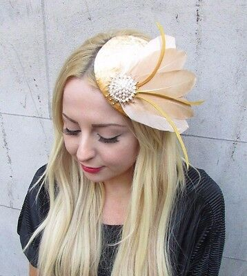 Old Gold Velvet Pheasant Statement Feather Hair Fascinator Vtg Hat Races 2559