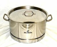 55 Quart Stainless Steel Low Wide Pot Steamer Rack Canning Beer Brewing Tamale