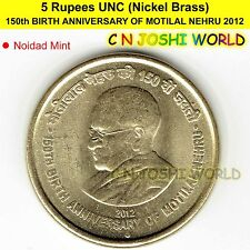 150th BIRTH ANNIVERSARY OF MOTILAL NEHRU Nickel-Brass Rs 5 UNC # 1 Coin