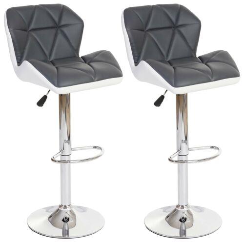 2x Tabourets de bar hwc-a92, cuir synthétique gris, chaise de bar tabouret