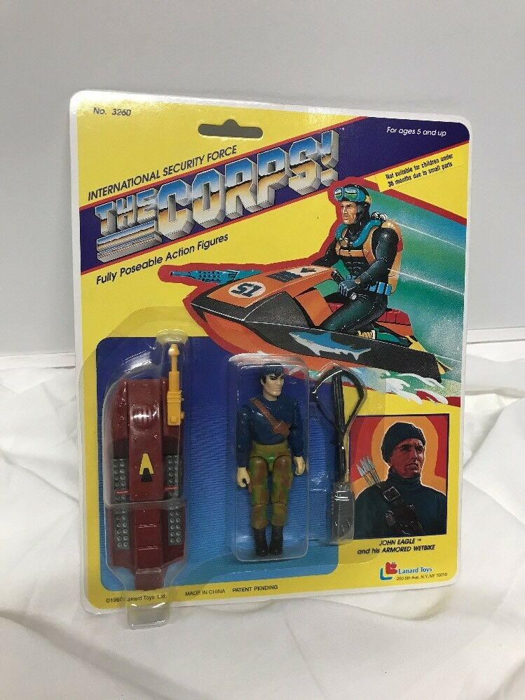 1990 lanard toys  corps  john eagle & gepanzerten wetbike neue 3,75