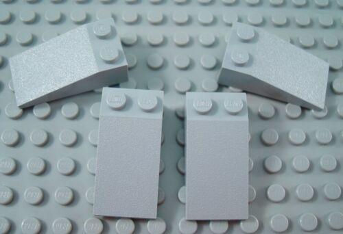 LEGO Lot of 4 Light Bluish Gray 4x2 Long Slopes