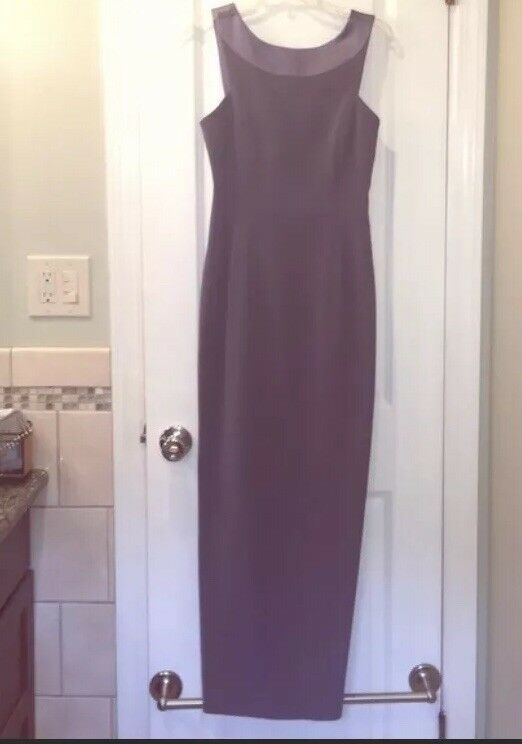 Vintage 90s Tahari bluee Gown Satin Trim Long Dress - Size 6