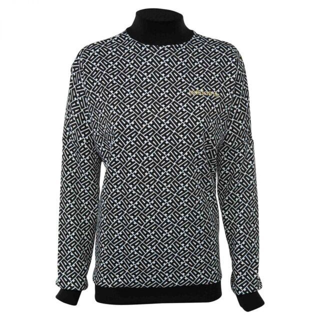 Adidas Allover Print Sweatshirt Womens BR9251 Black White Mock Neck Size S