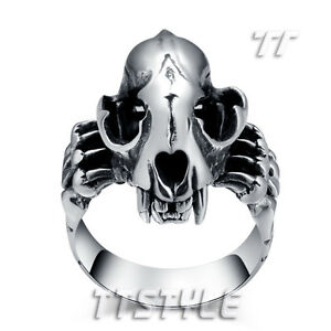 Clever High Quality Tt 316l Stainless Steel Dinosaur Skull Punk Ring Fashion Jewelry Men's Jewelry rz79