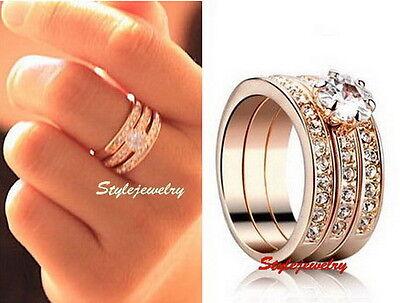 18k Rose Gold Plated Swarovski Crystal Wedding Engagement Eternity Ring Set R183