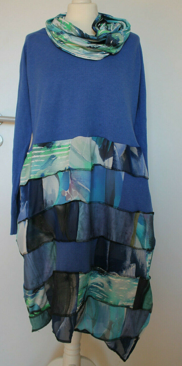 UPCYCLING  Kleid Tunika & Loop Patchwork Lagenlook Gr. 44 46
