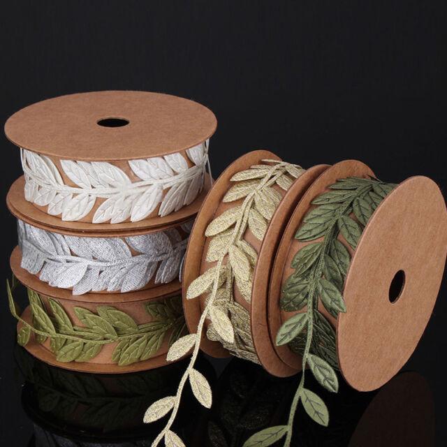 1 Meter Snowflake Craft Satin Leaf Leaves Vine Garlands Ribbon Sew On Lace Trim