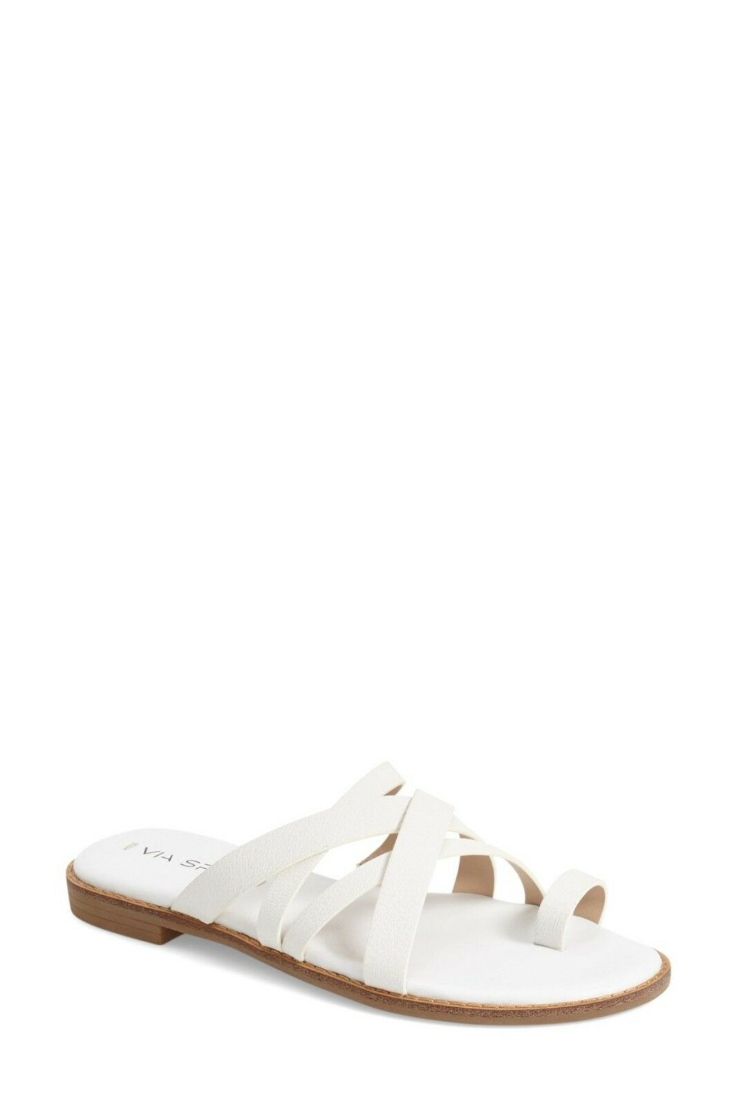 Nouveau Via Spiga Reese Toe Ring Sandale, en cuir blanc, Femme Taille 9,  175