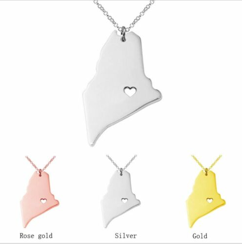 silver USA State of Maine 316L Stainless Steel Pendant Necklace