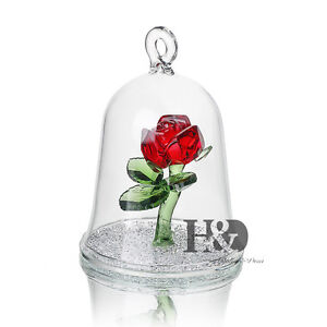 H-amp-D-Red-Crystal-Enchanted-Rose-Flower-Figurine-Dreams-Ornament-in-a-Glass-Dome