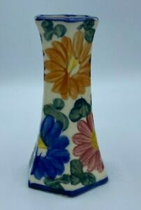 """Floral Design Ceramic Bud Vase 5.5"""" Made in JAPAN Flowers Hand Painted Colorful"""