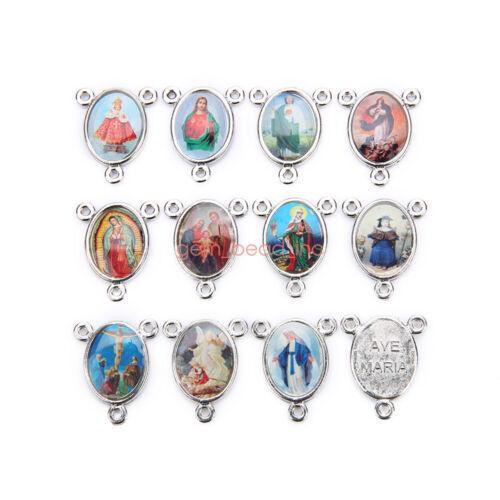 50Pcs 2-to-1 Connexctors Catholic Religious Enamel Medals Charms  Pendants 20mm