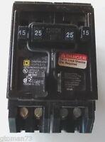 Square D Homeline Homt1515225 Circuit Breaker 15 25 Amp 1&2 Pole 120/240vac Quad