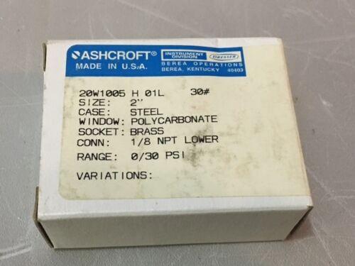 "SIZE 2/"" *NEW IN A BOX* 0//30PSI 3 ASHCROFT 20W1005H01L PRESSURE GAUGE 1//8 NPT"