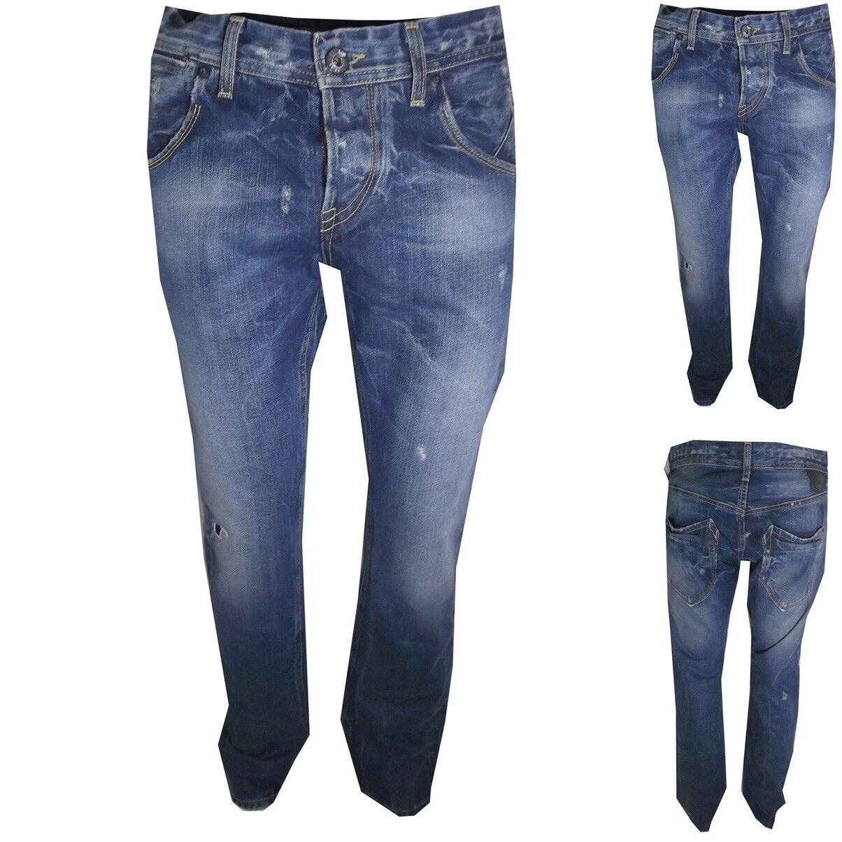Meltin'pot jeans uomo manolo strappato stright fit diritto svasato taglia W33L34