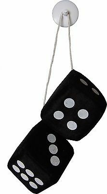 Sumex Branded Home /& Car Mirrior Hanging Fluffy Furry Dice Black with White Spots