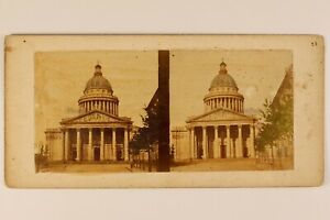 Francia-Parigi-il-Pantheon-Foto-Stereo-Vintage-Albumina-Colorati-c1860