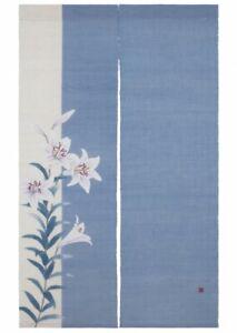 Kyoto-Noren-Japones-Puerta-Cortina-Lily-Flor-Motivo-Artesania-Hecho-en-Japon
