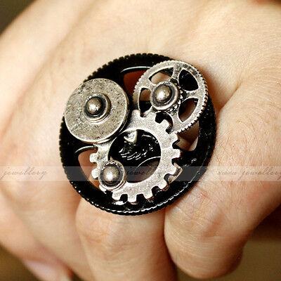 STEAMPUNK Wheel Gear Gothic Punk Rock Machine Black/Silver Metal Unique Ring