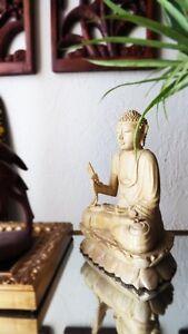 8-034-Bali-Rare-Croc-Wood-Altar-Buddha-Statue-on-Lotus-Blossom