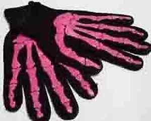 SKELETON-GLOVES-PINK-Bones-Print-Halloween-Goth-Costume-Horror