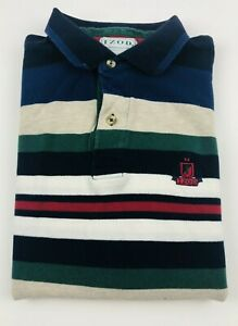 Vintage-Izod-Men-039-s-Short-Sleeve-Polo-Rugby-Plaid-Shirt-Sz-L-Large-Golf-Striped