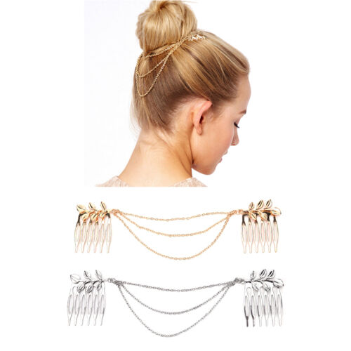Unique Vintage Hair Accessories Double Chain With Leaf Comb Head New HeadbaHFCA