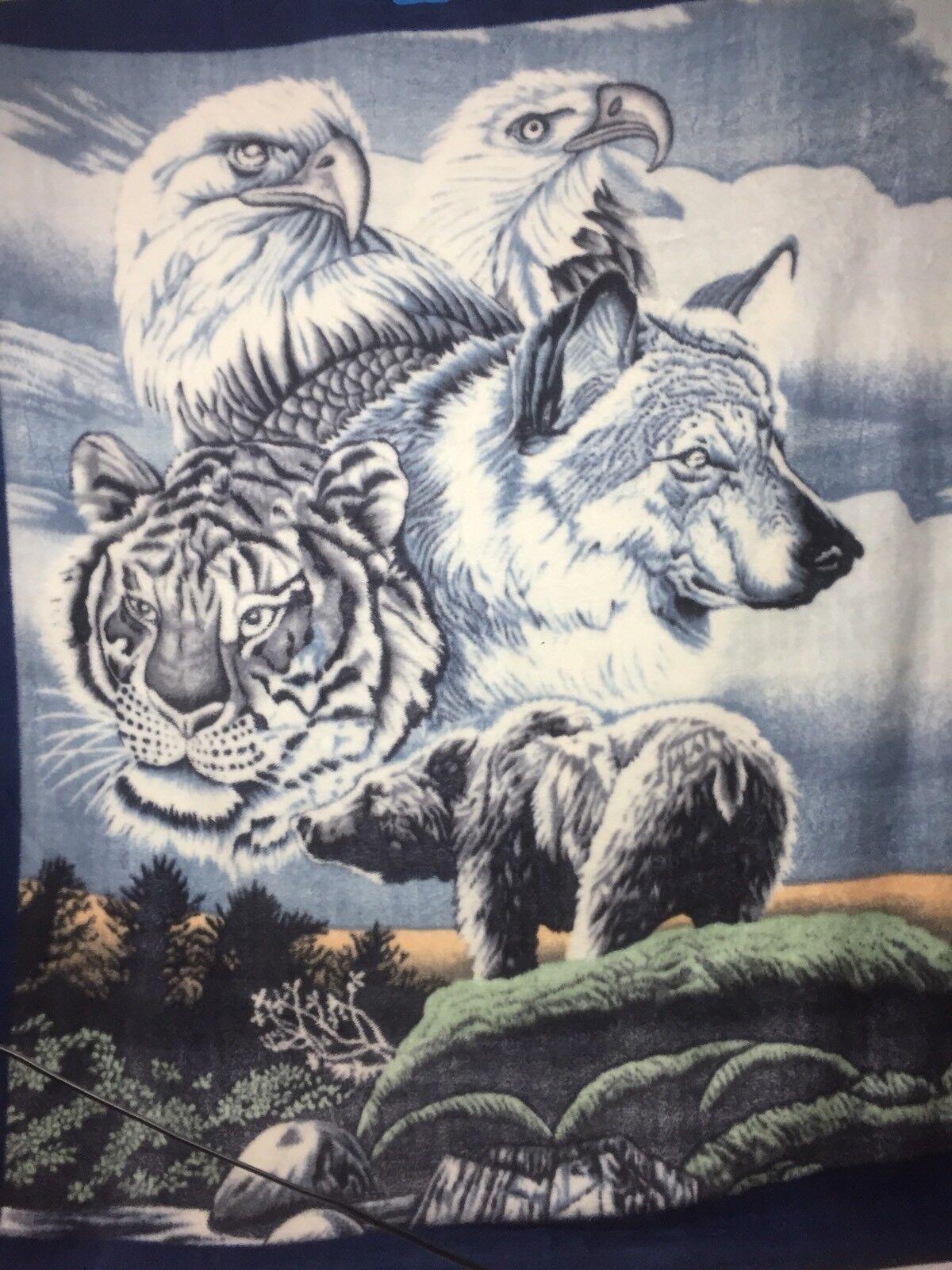"- Marina Blanket bluee  White Tiger, Wolf, Bear, Eagles ( 85""X 76"")"