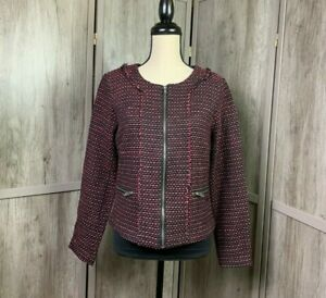 Women-039-s-Peppercorn-NWT-Stitch-Fix-Tweed-Zip-Up-Jacket-Zip-Pockets-Size-Small